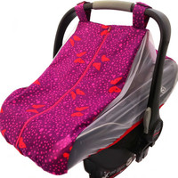 Summer car seat canopy with mosquito netting sides and fitted elastic bottom - Chasing butterflies in light pink, purple, or dark blue