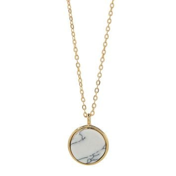 10MM Bezel Disc Marble Howlite Necklace