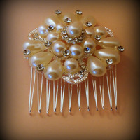 Bridal Hair Comb, Pearl Crystal Bridal Comb, Pearl Hair Comb, Bridal Hair Accessories, Wedding Hair Comb, Vintage Style