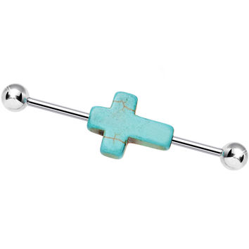 Order of the Turquoise Holy Cross Industrial Barbell 37mm