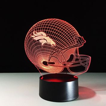 Football NFL Helmet 3D LED Night Light Lamp