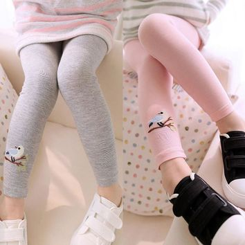 2017 Hot Sell Baby Girl Stretch Leggings Skinny Pants Cute Bird Print Toddler Child Candy Color Trousers