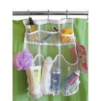 Evelots Mesh Bath & Shower Organizer, Space Saving 6 Pocket Storage Caddy, white