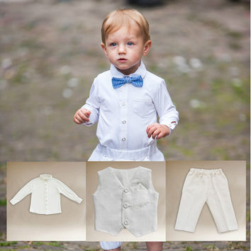 Boy christening outfit , Baptism pants ,  Linen baptism baby boys , Christening suit boys , White linen baby, Weding boys , White linen