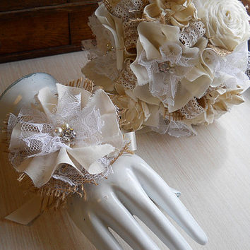 Rustic Shabby Chic Ivory Wedding Bouquet, Wrist Corage, sola flowers, fabric roses, burlap, lace, rhinestones, pearls. Made to Order.