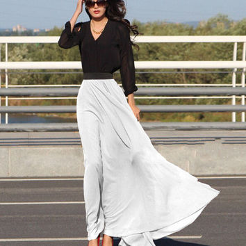 Chiffon Maxi Skirt in White Red Black or Green