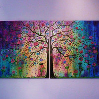 large original oil painting Abstract modern contemporary commission  Folk art Tree ,blue , violet & birds  48- free ship by V
