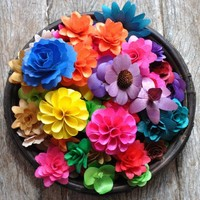 Wooden Flowers made of Birch wood Shavings- 150 Assorted Flowers