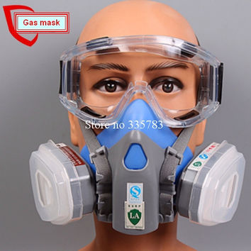 1pcs Double Gas Mask Chemical Gas Respirator Face Masks Filter Chemical Gas Protected Face Mask with Goggles