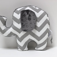 Chevron Elephant nursery pillow toy ELLE grey gray by LilKingdom