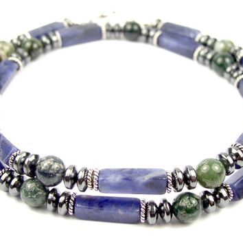 """Courage to Change"" Men's Crystal Healing Necklace Blue Sodalite, Moss Agate, Hematite MN26"