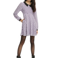 Lavender & Black Collar Bow Print Fit & Flare Dress