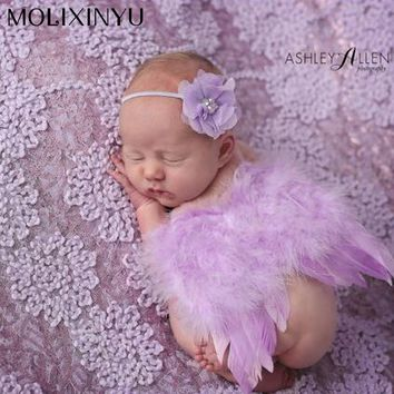 Cute !! 2017 New Soft Baby Girl Clothes Newborn Photography Props Children Skirt Sets Lace Headwear Angel Wing High Quality