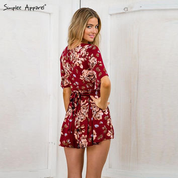 Red floral print sexy romper