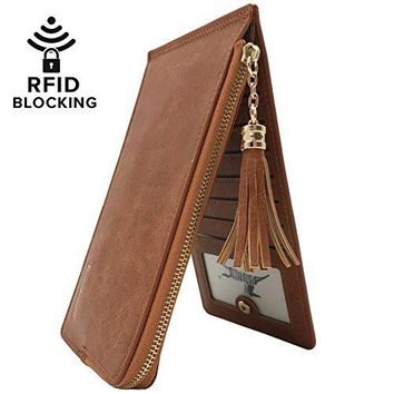 Womens RFID Blocking Bifold Thin Multi Card Organizer Wallet With Zipper Pocket