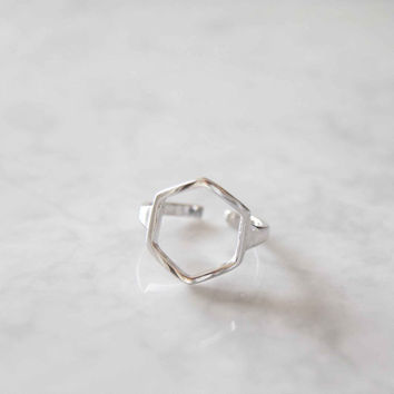 Sterling hexagon ring, adjustable hexagon ring, Geometric shape ring, girlfriend gift, best friend gift, sister gift, ring, minimalist ring