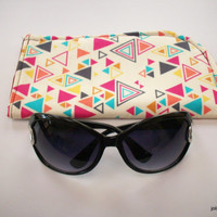 Triangles Wildly Colorful on Cream Slide in Sunglass Case or Eyeglass Case Choose Your Size
