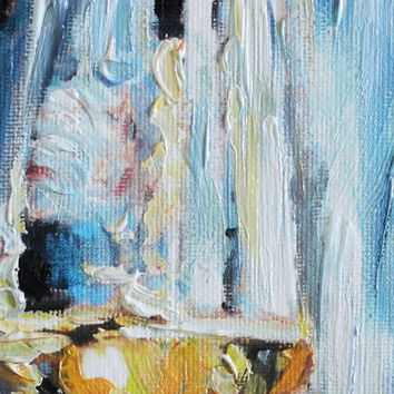 Glass of Wine Oil Painting on Canvas Modern Art Still Life Home Decor