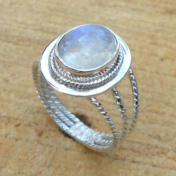 Rainbow Moonstone Ring - Sterling Silver Ring, Natural Stone Ring, Fine Silver Ring, Solid Silver Ring, Statement Ring,  Gift For Her