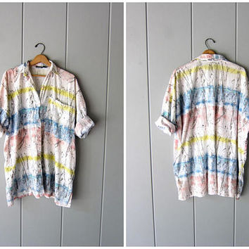 Vintage Abstract Tunic Top Colorful Painterly Op Art Print Tee OVERSIZED Paint Splattered Cotton Tee Mod Boho Hipster Smock Womens OSFM