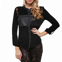 Sassy Faux and Lace Button Up Top