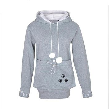 Cat Cuddle Pouch Hoodies With Ears Sweatshirt 4XL