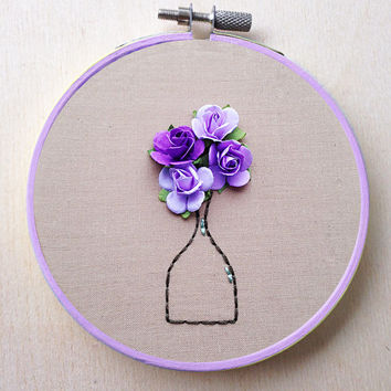 Paper Flower Hand Embroidery Hoop Floral Vase Bouquet Decor Flower Hand Embroidery Hoop Floral Home Decor Wedding Decor Spring Purple Decor