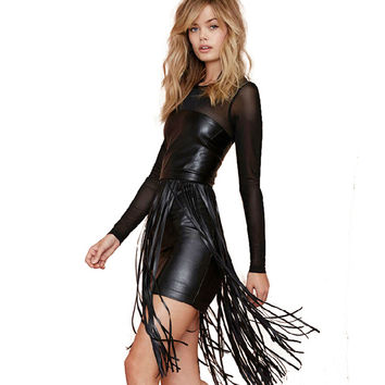 2016 Spring Summer New Arrival PU Leather Fringed Tassel Leather Package Hip Sexy Club Women's Black Dress Free Shipping SY195