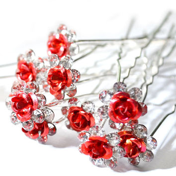 20Pc/Lot New Women Lady Bridal Wedding Crystal Diamante Flower Rose Hairpin Clip Barrettes Sticks Hair Jewellery Accessories