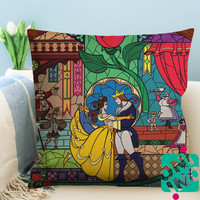 Beauty And The Beast Rose Stained Glass Zippered Pillow Case, Cushion Case, Pillow case