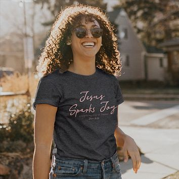 Cherished Girl Grace & Truth Jesus Sparks Joy Girlie Christian Bright T Shirt