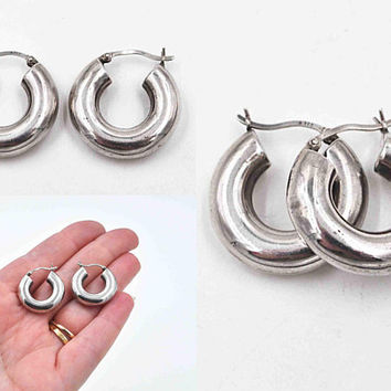 Vintage Sterling Silver Hoop Pierced Earrings, Tube Shape, Tubular, Silver Hoops, Thick, Chunky, Latch Back, Fab! #c534