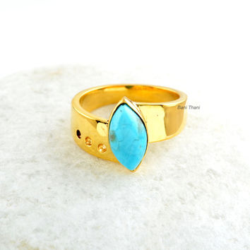 925 Sterling Silver Ring-Micron Gold Plated-Handmade jewelry-Arizona Turquoise-Marquise 6x12 mm-Women Jewelry
