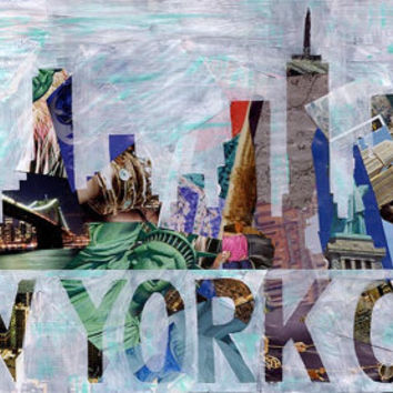 New York City art - NYC Skyline -Mixed Media collage art- New York print -NYC Art - Bohemian decor - boho art - Valentine gift ideas