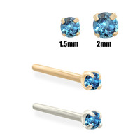 14K Gold (Nickel free) Teal Blue Diamond Nose Stud