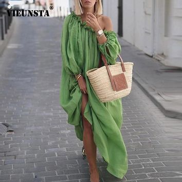 VIEUNSTA Autumn Sexy Off Shoulder Ruffle Party Long Dress Women Casual Plus Size Long Sleeve Beach Dress Summer Solid Maxi Dress