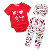 "3PC Baby Girls ""My 1st Valentine's Day"" Outfit"