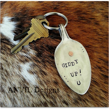 Vintage Silverware Spoon Key Chain - Giddy Up - Horseshoe - Repurpose, Reuse, Recycle, Upcycled