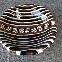 Fathers Day Tribal Fused Glass Bowl Black Brown White Designer Glass 057