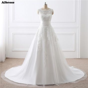 In Stock 2 Piece White Wedding Dress Short and Long Wedding Dresses Ivory Bridal Gown Chic Formal Dress Elegant robe de mariee