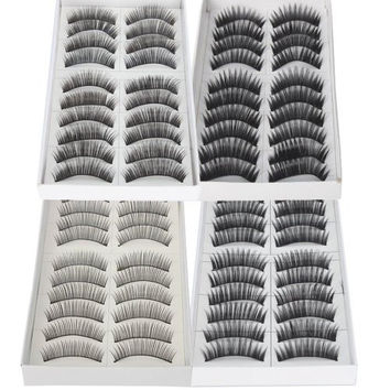 So Beauty Black Long & Thick Reusable False Eyelashes Fake Eye Lash for Makeup Cosmetic - 4 Kinds of Style?-40pairs