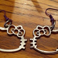 Upcycled Silver Hello Kitty Earrings