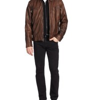 Calvin Klein Men's Faux Leather Moto Jacket with Hoodie, Brown, XX-Large