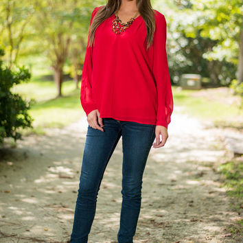 Hotter Than Fire Blouse, Red