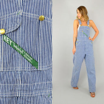 vtg 70s KEY IMPERIAL workwear Striped Denim engineer dungarees bibs utility OVERALLS, extra small-small