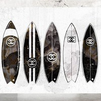 ONETOW Wall Art Poster Print - Surfboards COCO CHANEL, Shoes, Book, Handbag Vogue - Famous Fashion - Black Water Color- 677