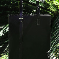 Tall Leather Tote Bag
