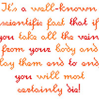 Silly modern cross stitch quote. Contemporary cross stitch sampler.