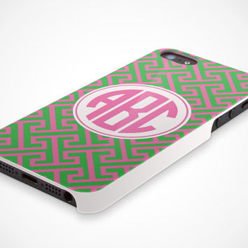 iPhone 5 Cell Phone Case Custom Color Retro Circle Monogram Initials Apple Personalized Name Protective White Plastic Hard Cover VM-1050