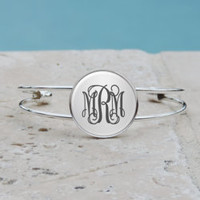 Personalized Silver Monogram Pendant Necklace, Silver Monogram Cuff Bangle Bracelet, Bridesmaid Gifts, Gifts for Her,Accessories,Jewlery